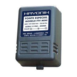 Fonte FTV MINI 12V 800mA para TV Importada P.B. Plug C- HAYONIK