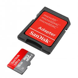 Micro SD 16GB Sandisk Classe 10 Ultra Com Adaptador 2x1