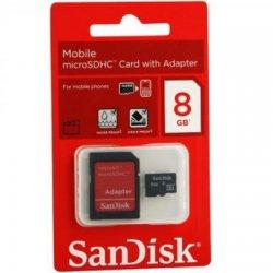 MICRO SD 8GB SANDISK COM ADAPTADOR 2X1