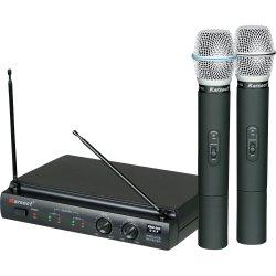 Microfone de Mão Sem Fio Duplo Pilha 2AA KRU302 Preto KARSECT