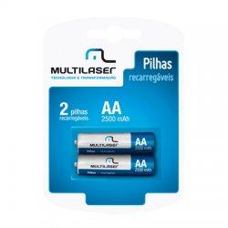 Pilha Recarregavel Multilaser CB053 Com 2 AA 2500MHA