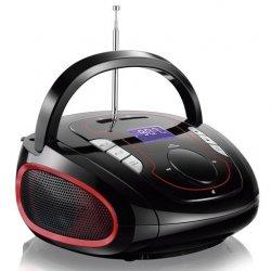 Radio Caixa De Som Bluetooth Preta e Vermelha SP186 FM USB SD